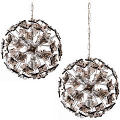 Italian Sputnik Pendant Lights Chandeliers, Chrome Smoked Glass, 1970