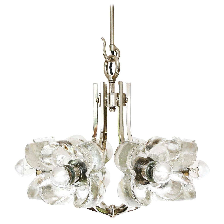 chandeliers and pendant lighting. Mazzega Ice Glass Chrome Flower Chandelier Pendant Light 1960s For Sale At 1stdibs Chandeliers And Lighting