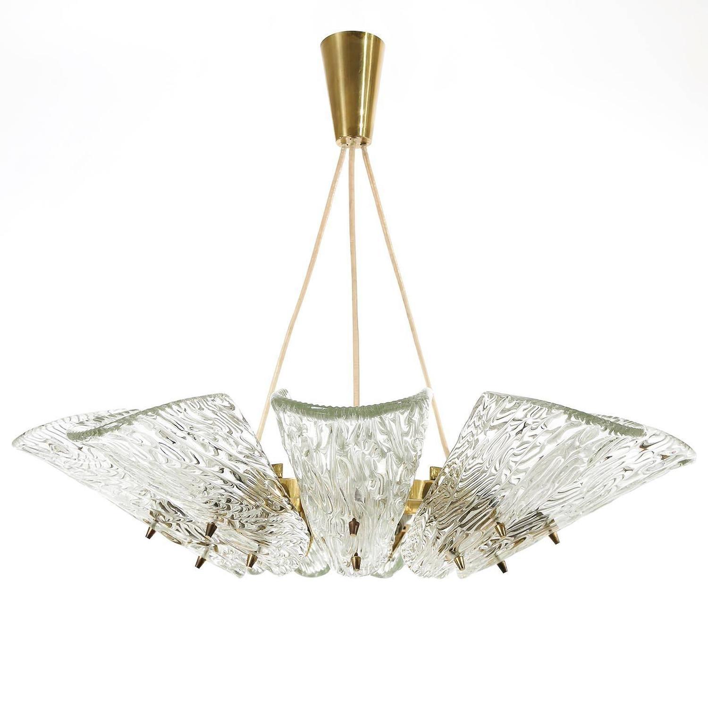 Two large kalmar pendant lights or chandeliers brass and glass two large kalmar pendant lights or chandeliers brass and glass austria 1950 at 1stdibs aloadofball Images