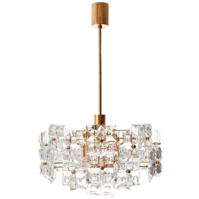 Mid-Century Modern Kinkeldey Chandelier, Gold-Plated Brass Crystal Glass, 1970 For Sale