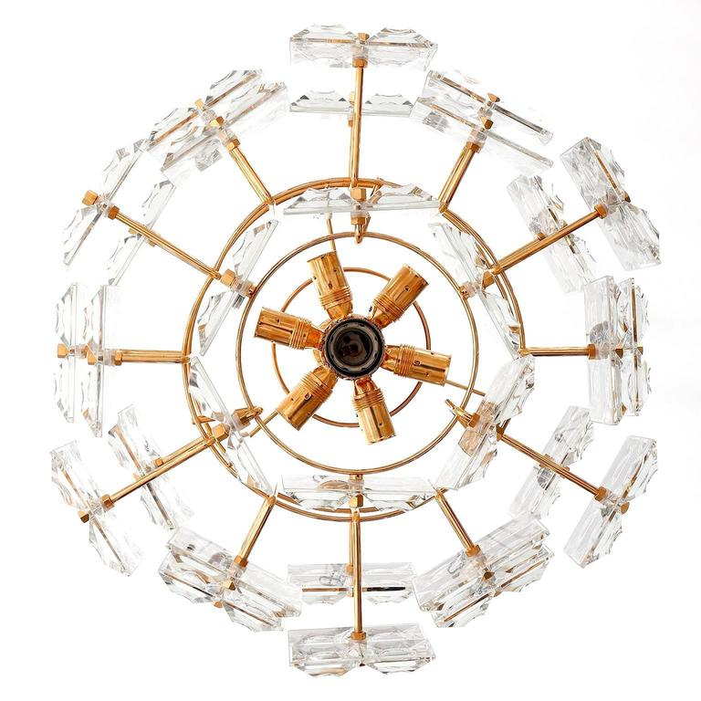 Gilt Kinkeldey Chandelier, Gold-Plated Brass Crystal Glass, 1970 For Sale