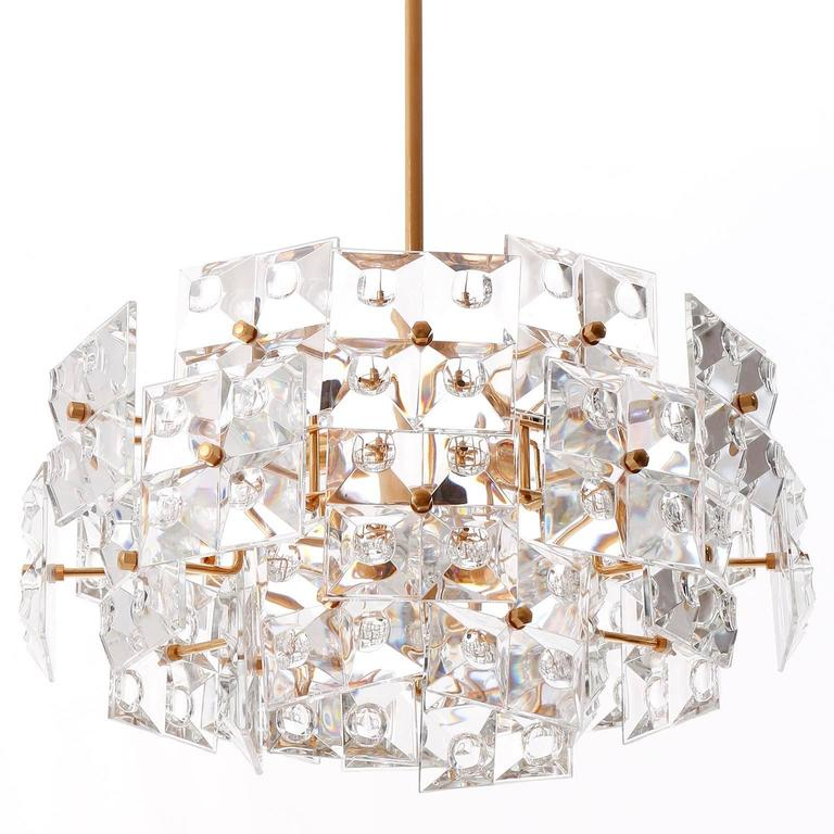 German Kinkeldey Chandelier, Gold-Plated Brass Crystal Glass, 1970 For Sale