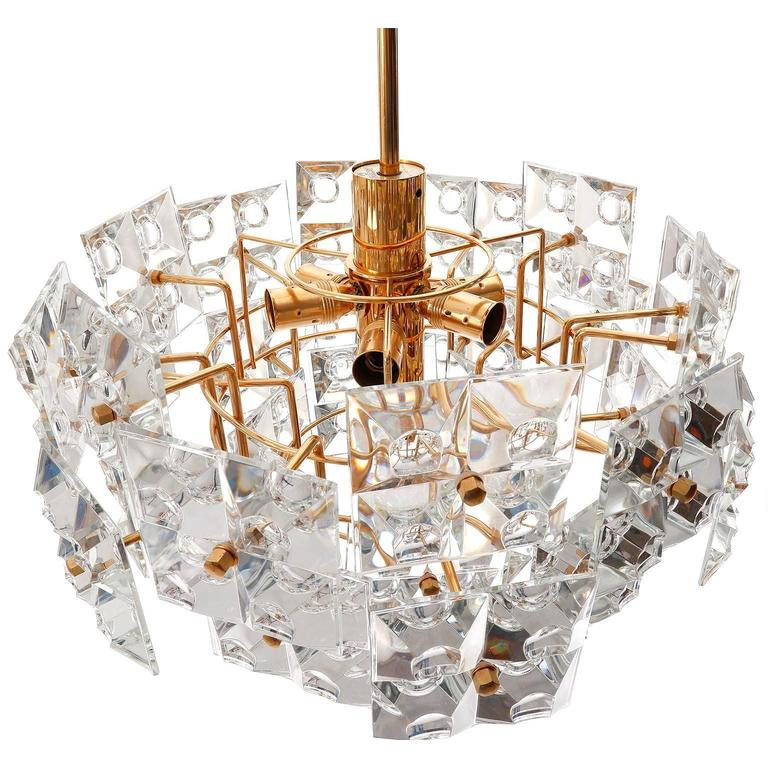 Kinkeldey Chandelier, Gold-Plated Brass Crystal Glass, 1970 In Excellent Condition For Sale In Vienna, AT