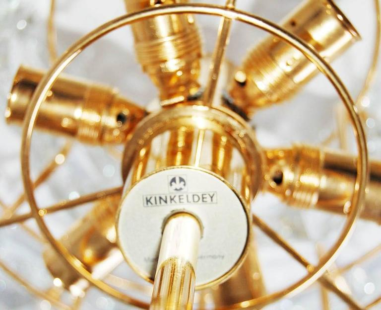 Mid-20th Century Kinkeldey Chandelier, Gold-Plated Brass Crystal Glass, 1970 For Sale