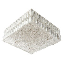 Square Kalmar Flush Mount Light Fixture, Textured and Crystal Glass, 1960s