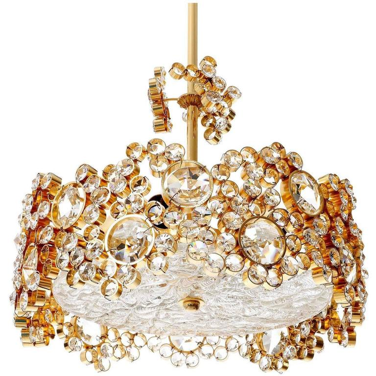 Gilded Brass and Crystal Glass Flush Mount by Palwa, 1960s For Sale 2