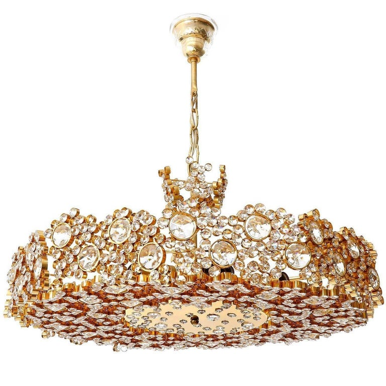 Gilded Brass and Crystal Glass Flush Mount by Palwa, 1960s For Sale 1