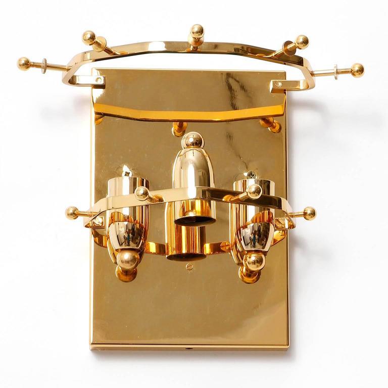 1960s Kalmar Sconces, Gilt Brass Glass, 1970 For Sale