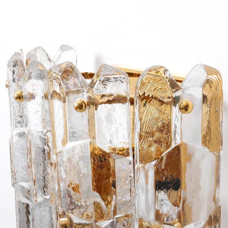 Kalmar Sconces, Gilt Brass Glass, 1970 For Sale 1
