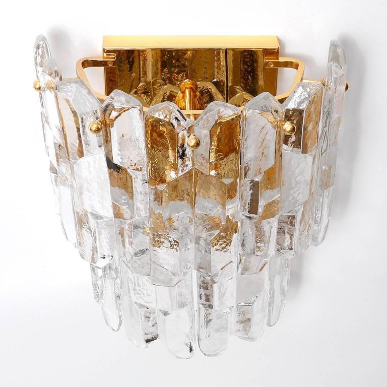 Mid-Century Modern Kalmar Sconces, Gilt Brass Glass, 1970 For Sale