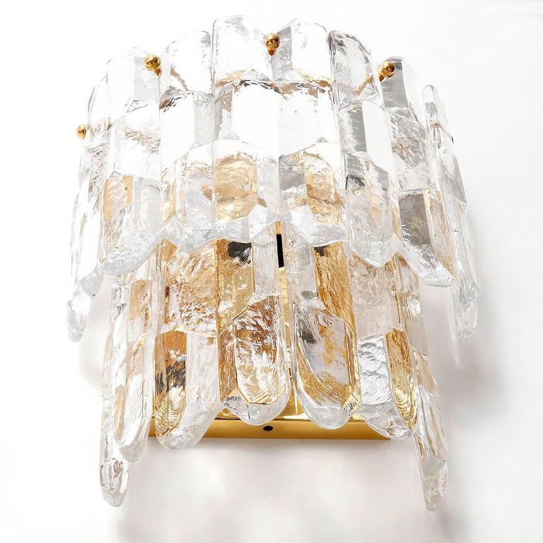 Austrian Kalmar Sconces, Gilt Brass Glass, 1970 For Sale