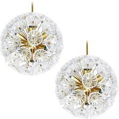Pair of Sputnik Chandeliers Pendant Lights, Glass and Brass, Germany, 1960s