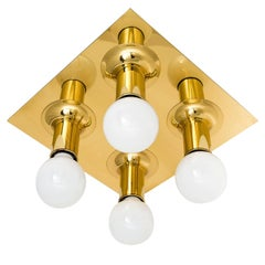 Five Flush Mount or Wall Light Fixtures Sputnik Brass by Cosack, Germany, 1970