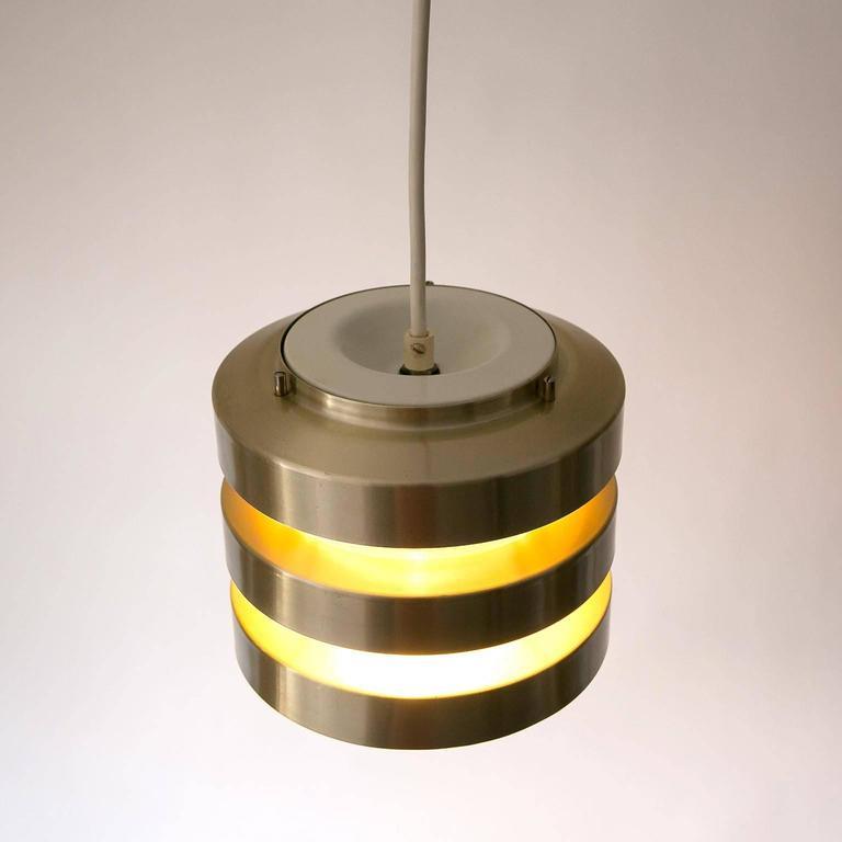 Set Of Three Pendant Lights Brushed Brass Scandinavian