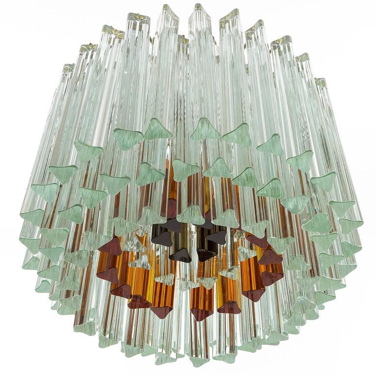 Mid-Century Modern Venini Glass Chandelier, Triedri Crystal Glass, Italy, 1960s For Sale