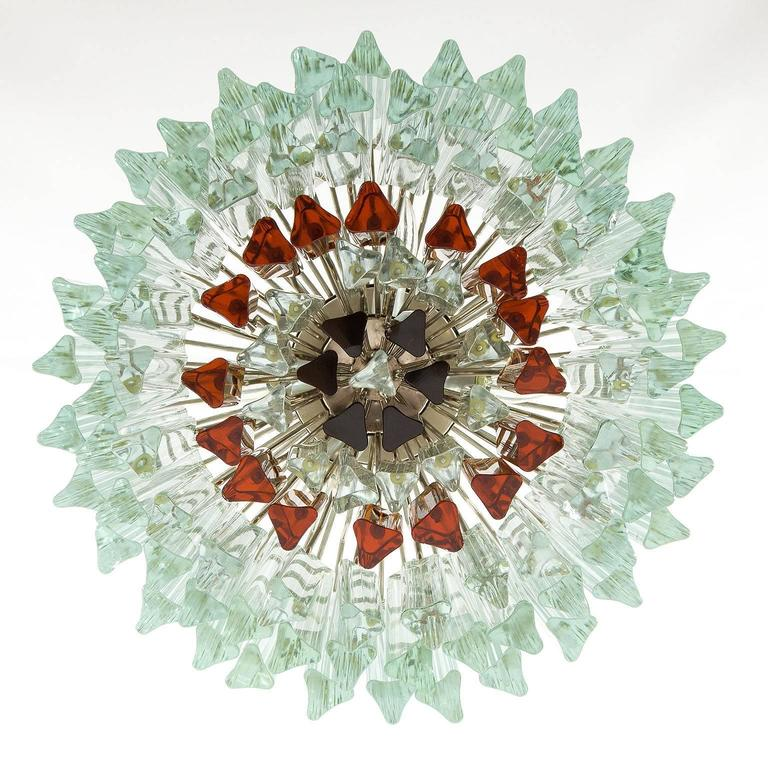 Venini Glass Chandelier, Triedri Crystal Glass, Italy, 1960s In Good Condition For Sale In Graz, AT