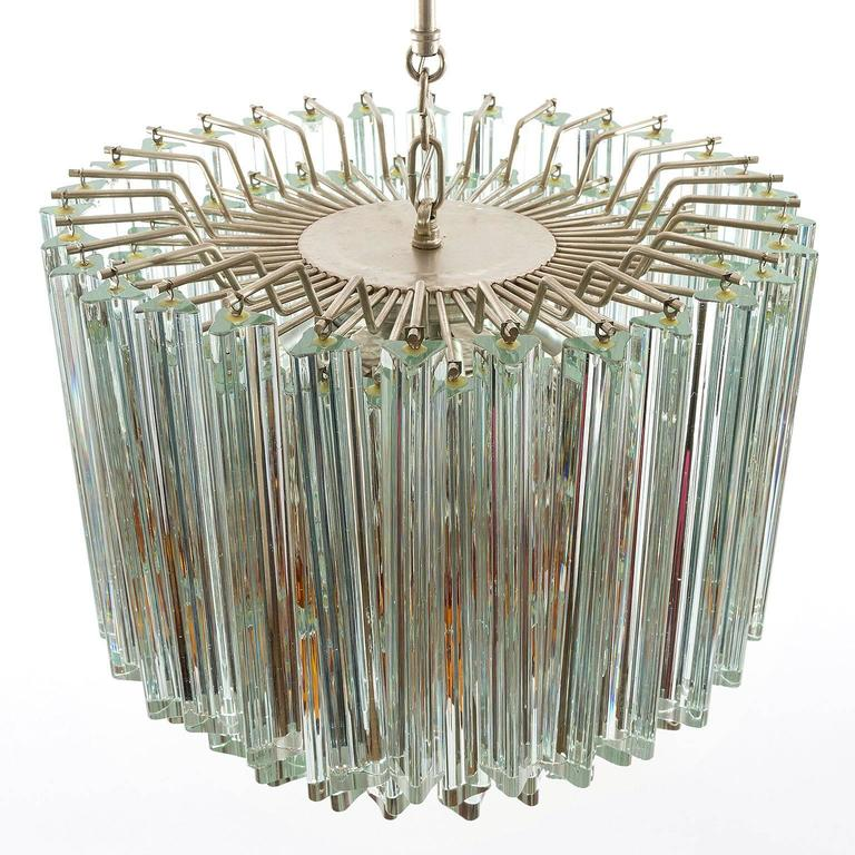 Mid-20th Century Venini Glass Chandelier, Triedri Crystal Glass, Italy, 1960s For Sale