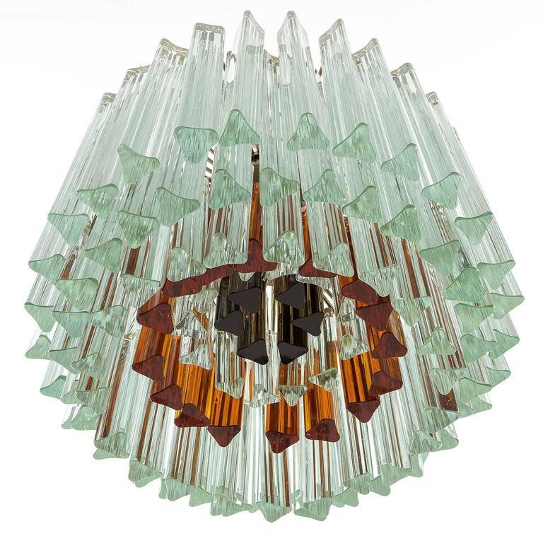 Italian Venini Glass Chandelier, Triedri Crystal Glass, Italy, 1960s For Sale