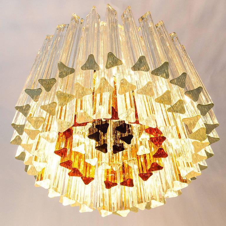Venini Glass Chandelier, Triedri Crystal Glass, Italy, 1960s For Sale 2