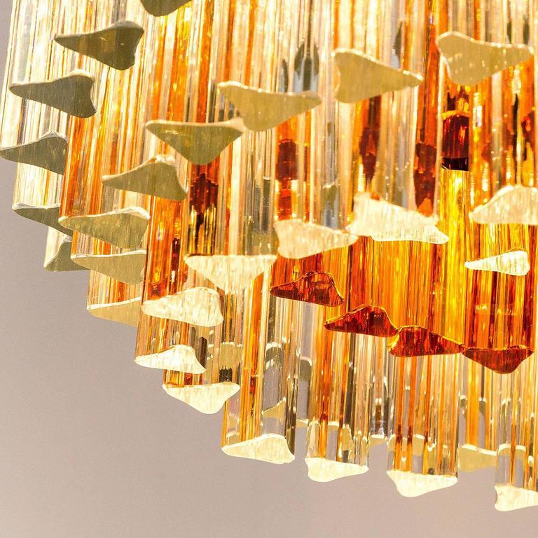 Venini Glass Chandelier, Triedri Crystal Glass, Italy, 1960s For Sale 3
