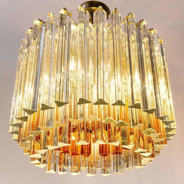 Venini Glass Chandelier, Triedri Crystal Glass, Italy, 1960s For Sale 1