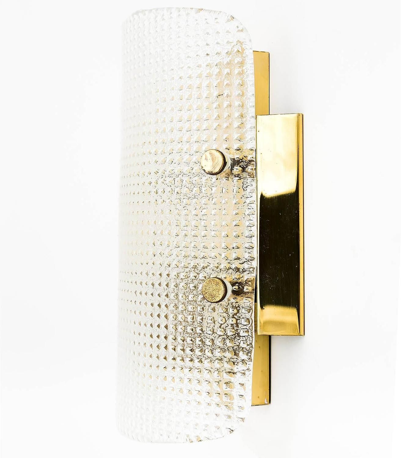 Pair of Hillebrand Wall Lights Sconces Brass Square Pattern Glass 1960s For Sale at 1stdibs
