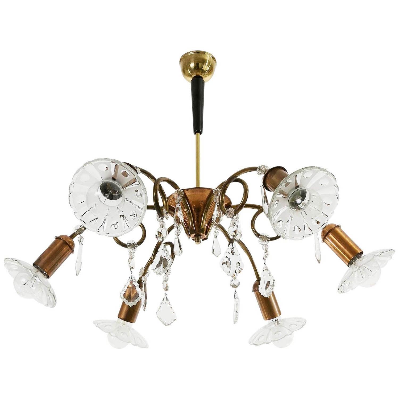 Rupert Nikoll Chandelier, Glass Copper Brass, Austria, 1950s