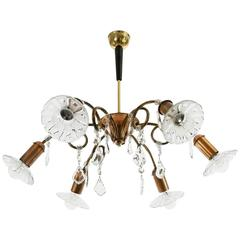 Rupert Nikoll Chandelier, Glass Copper Brass, Austria, 1950s