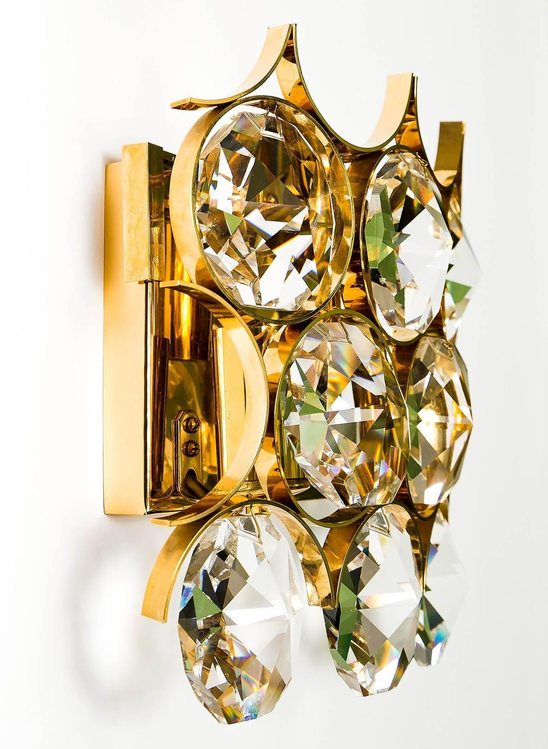 Pair of Palwa Sconces Wall Lights Gilded Brass Large Crystals at 1stdibs