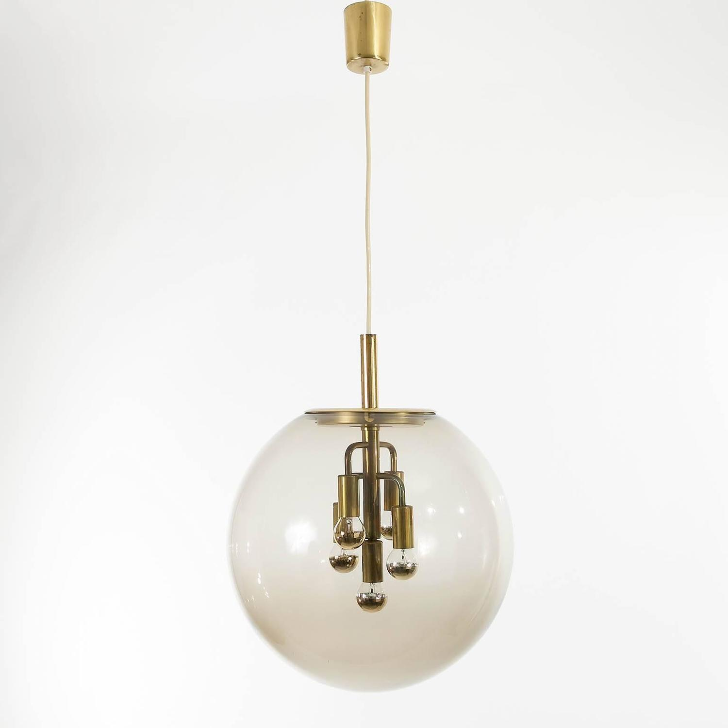 large limburg pendant light brass and amber glass globe 1960s at 1stdibs. Black Bedroom Furniture Sets. Home Design Ideas