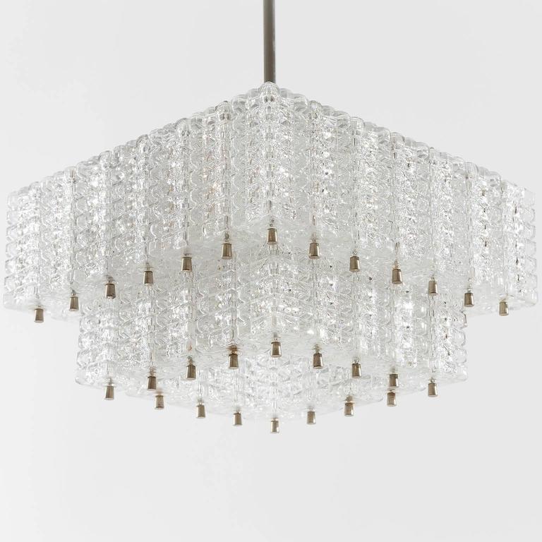 Austrian Chandelier Pendant Light by Austrolux, Glass Chrome, Vienna, 1960s For Sale