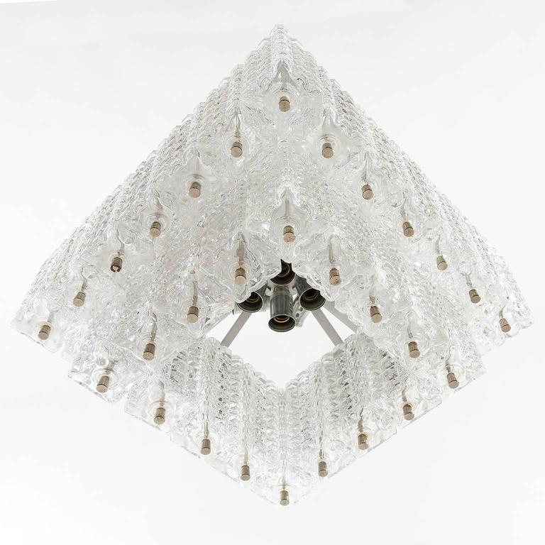 Lacquered Chandelier Pendant Light by Austrolux, Glass Chrome, Vienna, 1960s For Sale