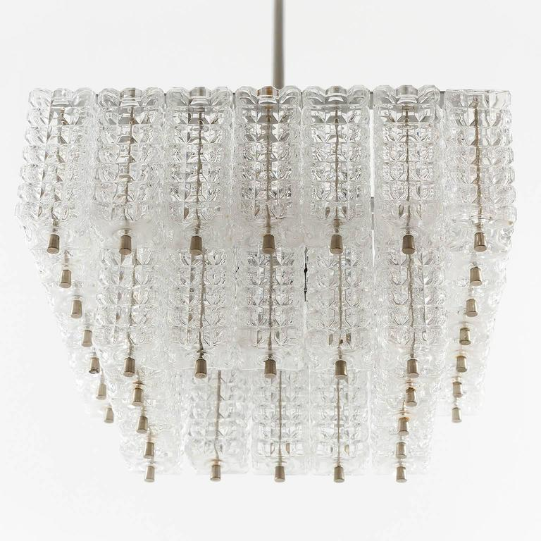 Mid-Century Modern Chandelier Pendant Light by Austrolux, Glass Chrome, Vienna, 1960s For Sale