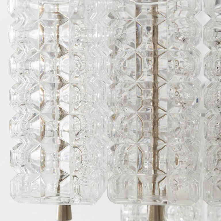 Chandelier Pendant Light by Austrolux, Glass Chrome, Vienna, 1960s In Excellent Condition For Sale In Graz, AT