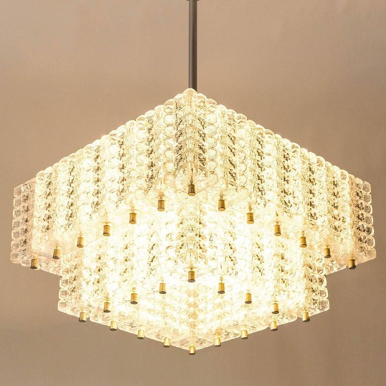 Chandelier Pendant Light by Austrolux, Glass Chrome, Vienna, 1960s For Sale 2