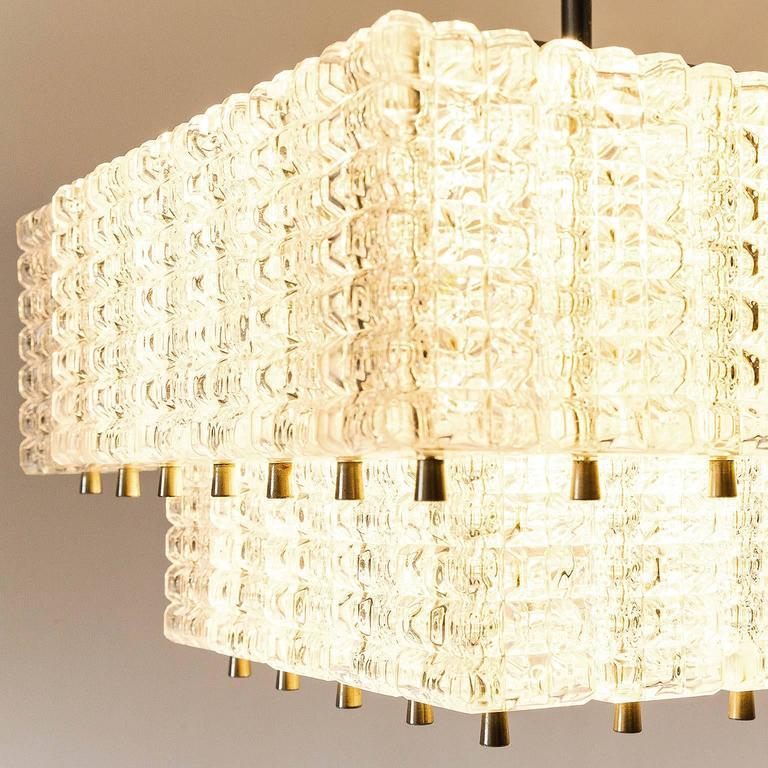 Chandelier Pendant Light by Austrolux, Glass Chrome, Vienna, 1960s For Sale 3