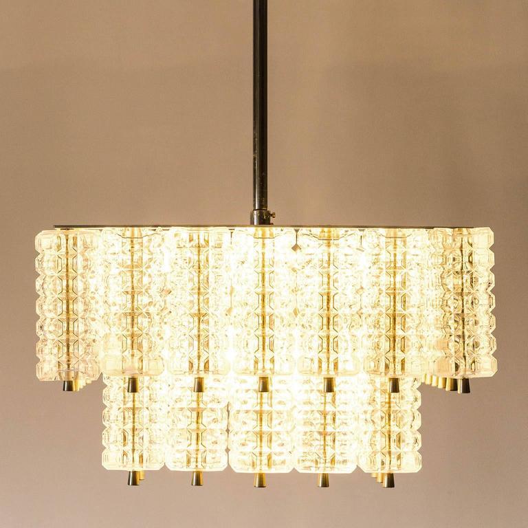 Mid-20th Century Chandelier Pendant Light by Austrolux, Glass Chrome, Vienna, 1960s For Sale
