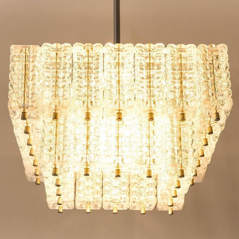 Chandelier Pendant Light by Austrolux, Glass Chrome, Vienna, 1960s For Sale 1