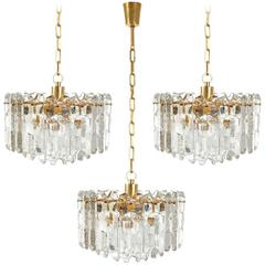 Three Kalmar Palazzo Pendant Lights or Chandeliers, Gilt Brass Crystal Glass
