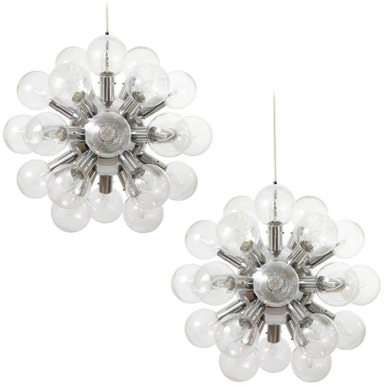 Set Five Kalmar Sputnik Pendant Lights Chandeliers 'RS 27', Aluminum Glass, 1970
