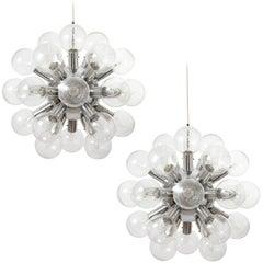 Five Kalmar Sputnik Pendant Lights Chandeliers 'RS 27', Aluminum Glass, 1970