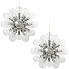 Set Five Kalmar Sputnik Pendant Lights Chandeliers 'RS 27', Aluminum Glass, 1970