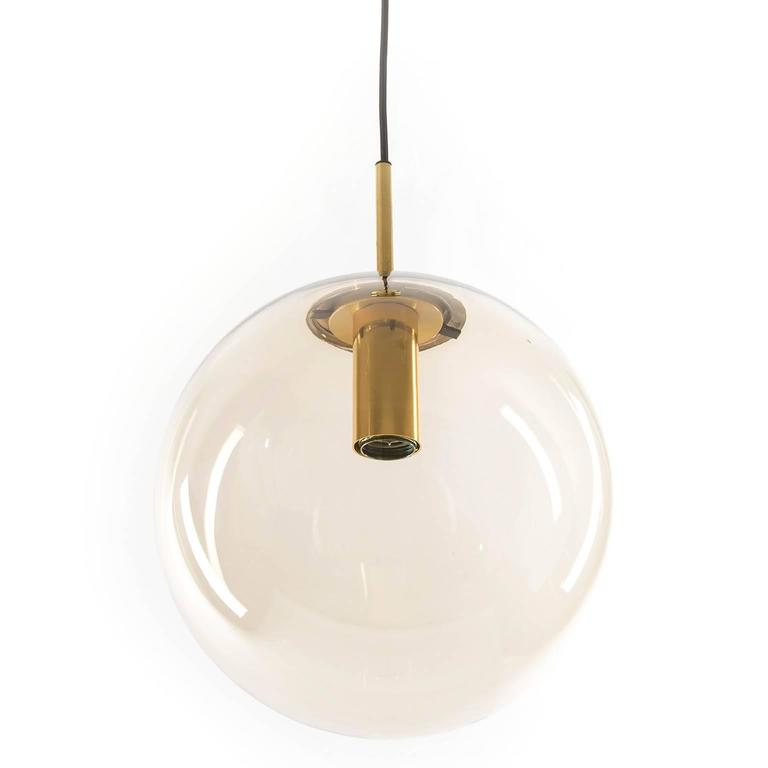 one of ten limburg globe pendant lights brass and smoked glass for sale at 1stdibs. Black Bedroom Furniture Sets. Home Design Ideas