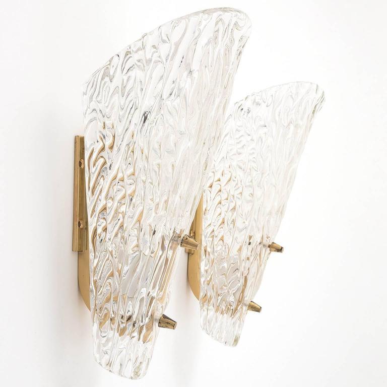 Pair of Kalmar Sconces, Textured Glass Brass, 1950s 5