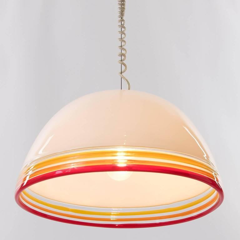 Murano Glass Italian Pendant Light by Roberto Pamio and Renato Toso for Leucos, 1970s For Sale
