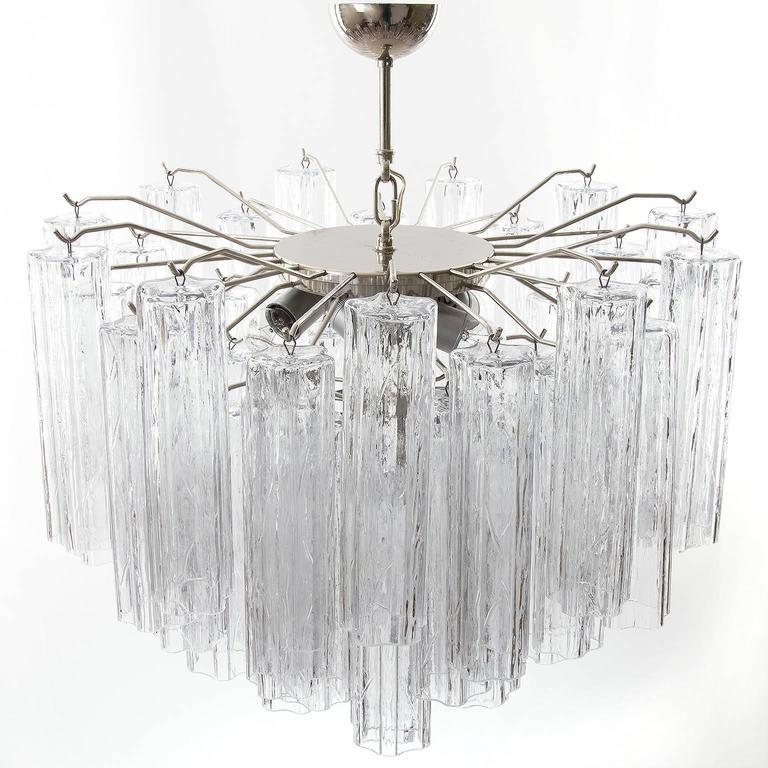 Italian Venini Tronchi Glass Chandelier, Italy, 1960s For Sale