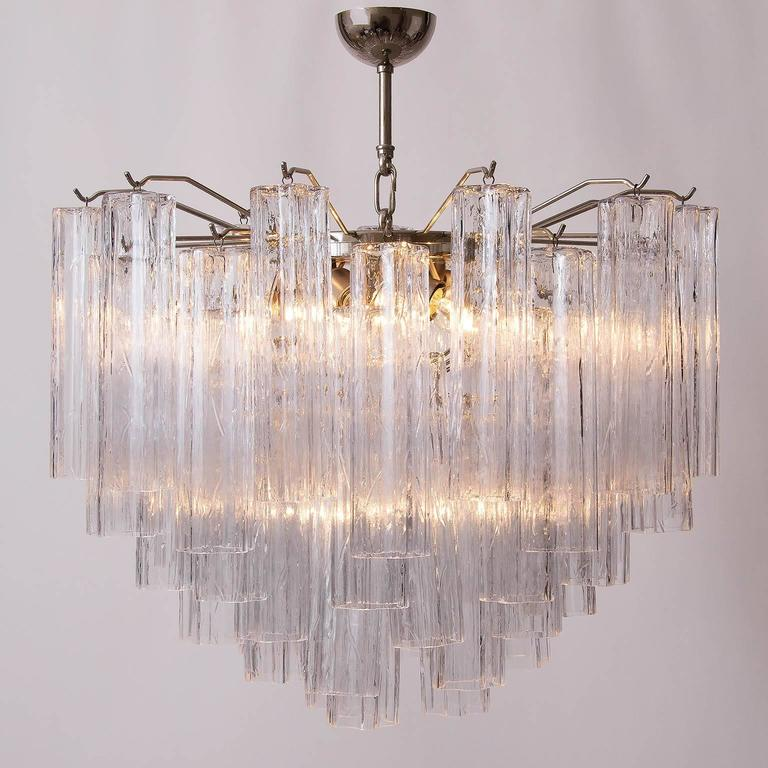 Mid-20th Century Venini Tronchi Glass Chandelier, Italy, 1960s For Sale