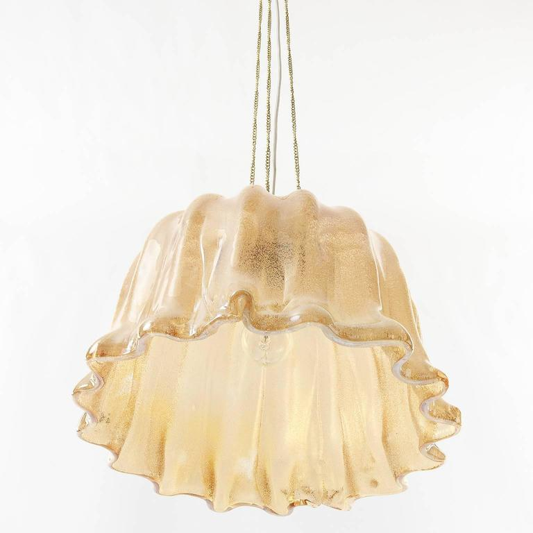 Barovier (attr.) Pendant Light, Amber Tone Murano Glass, 1960s 4