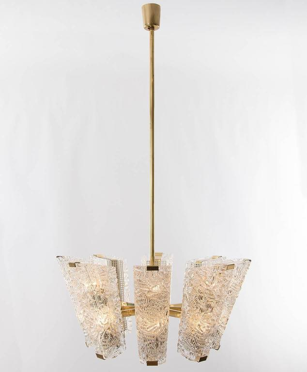 Metal Large Kalmar Chandelier, Brass and Textured Glass, 1950s, 1 of 4 For Sale