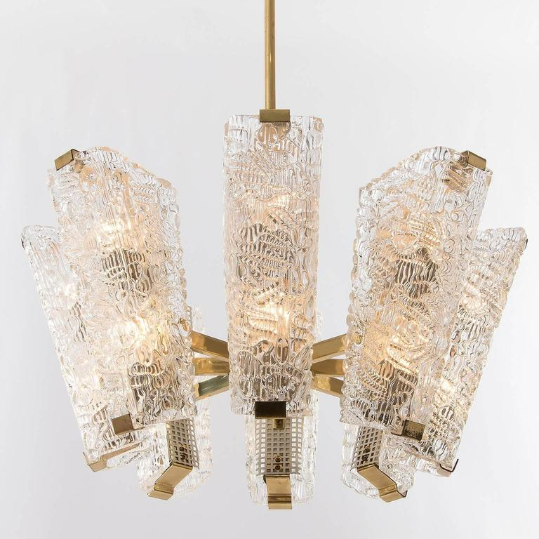 Large Kalmar Chandelier, Brass and Textured Glass, 1950s, 1 of 4 For Sale 1
